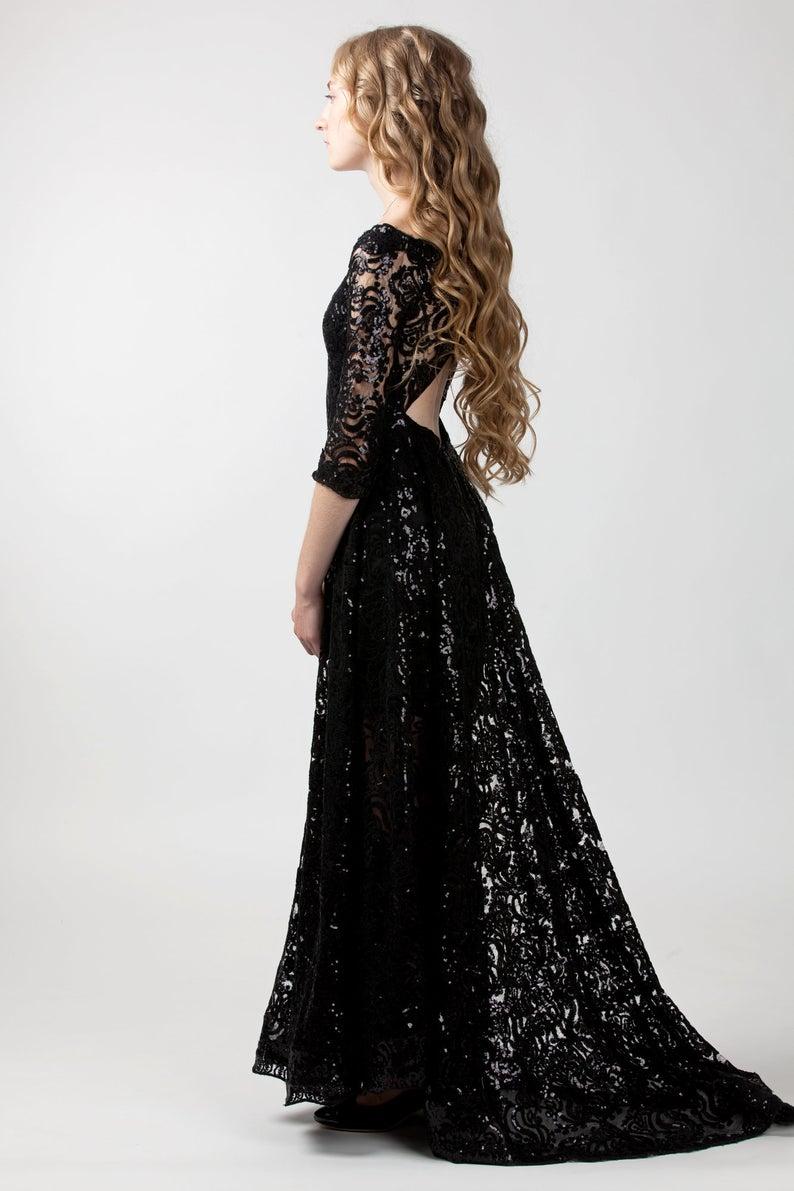 Black Sequin Lace Dress With Train Black Renaissance Wedding Etsy In 2021 Black Lace Wedding Dress Black Lace Prom Dress Black Bridesmaid Dresses [ 1191 x 794 Pixel ]