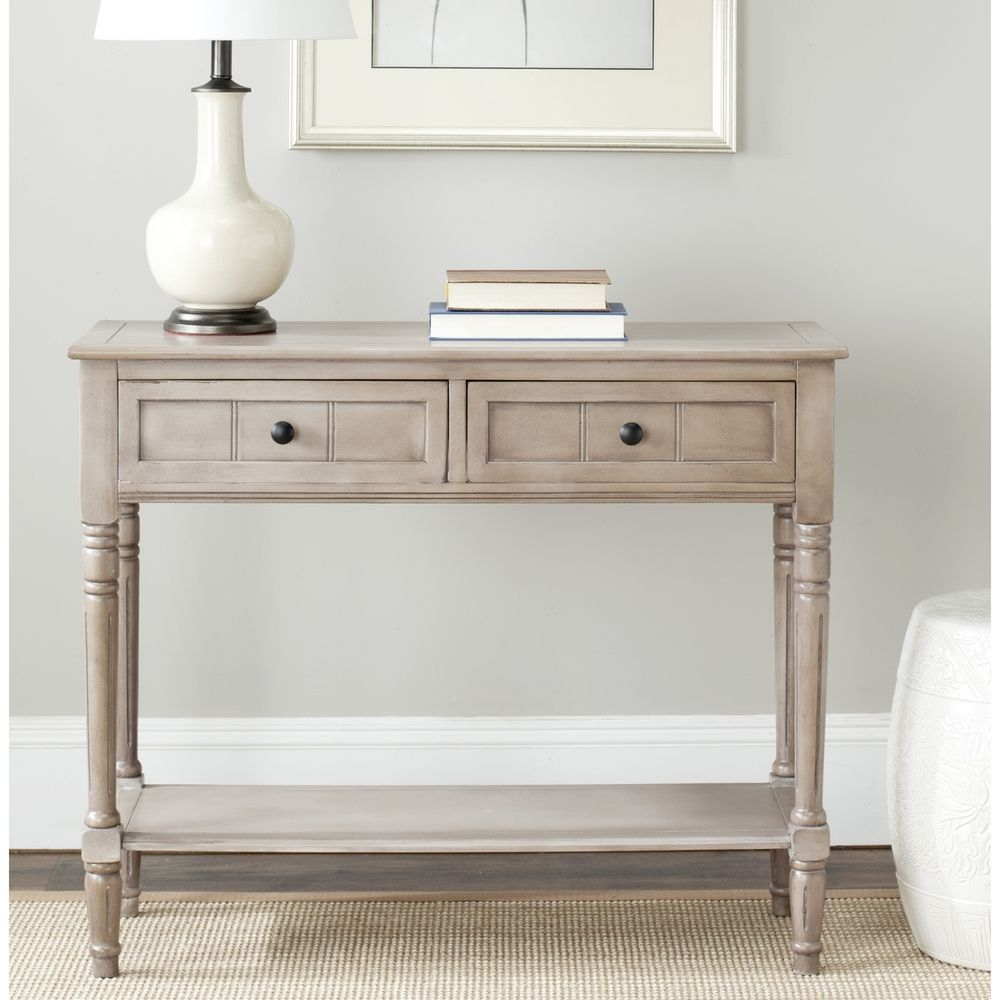 As vanityfavieh cape cod grey 2 drawer console table safavieh cape cod grey 2 drawer console table overstock geotapseo Images