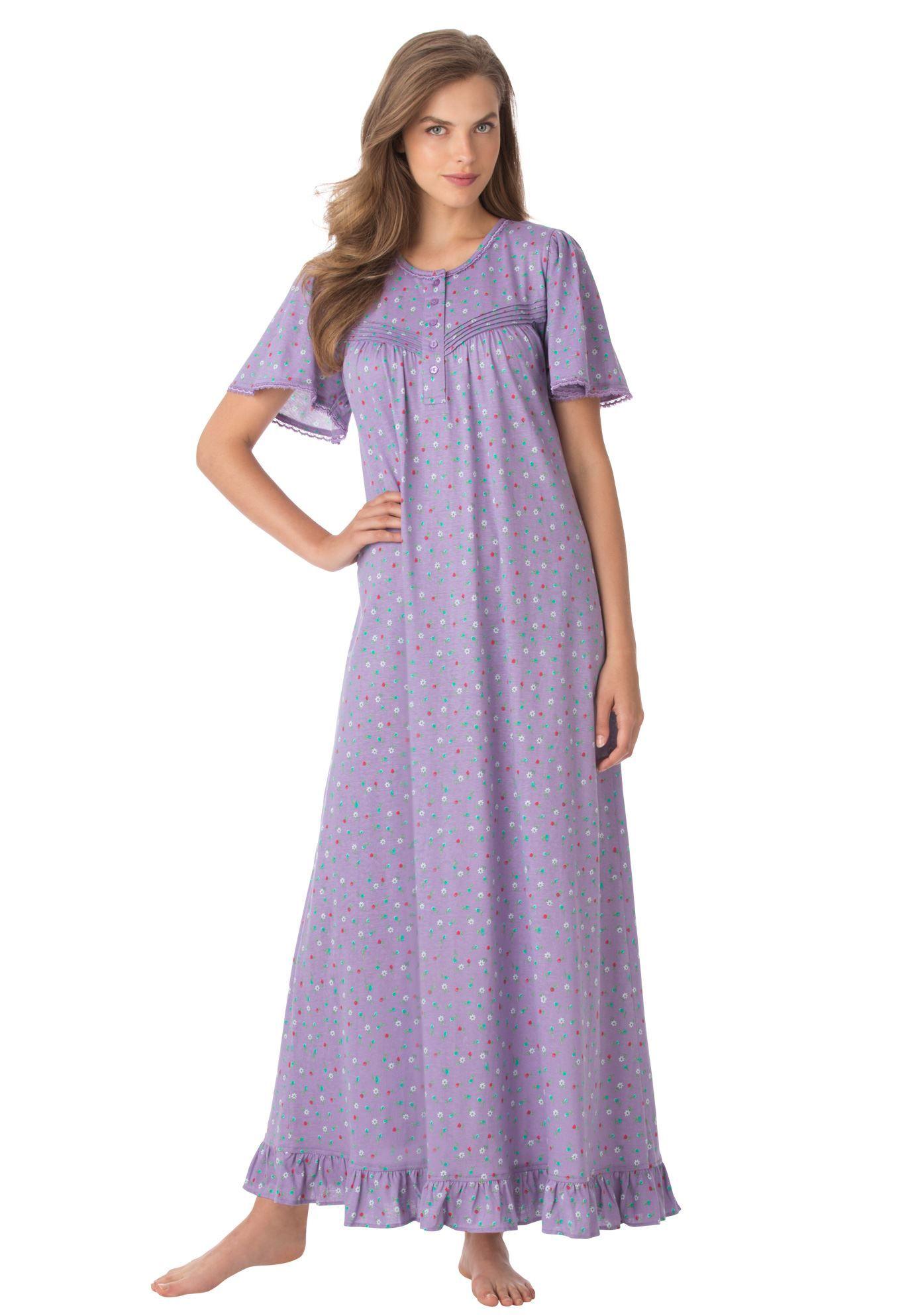 7cc3376ba4 Plus Size Woman Within® Long cotton knit gown