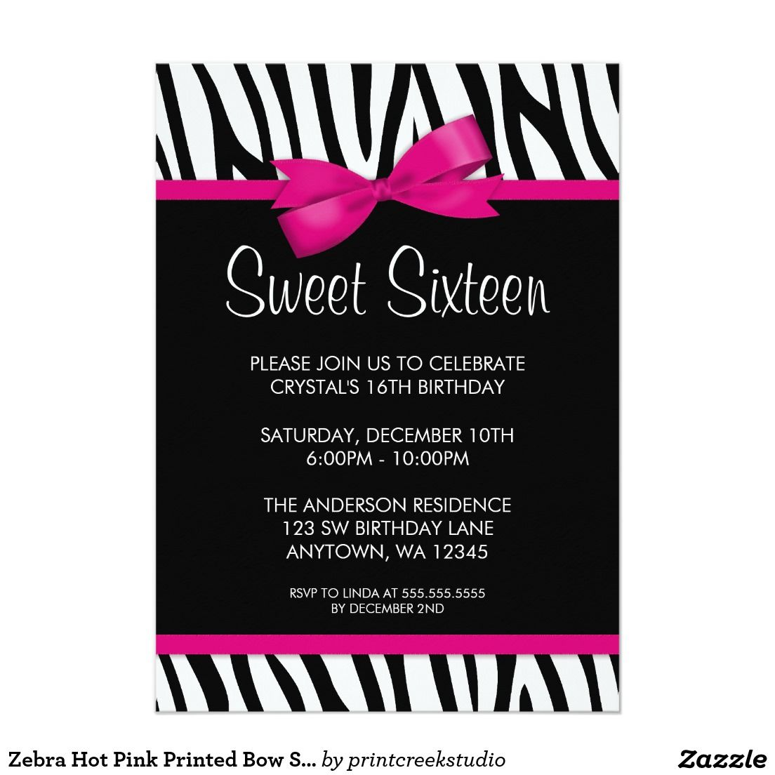 Zebra Hot Pink Printed Bow Sweet 16 Birthday Party 5x7 Paper
