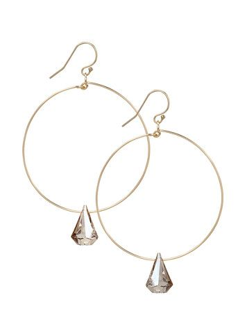 Gold Filled Hoop Earrings with Swarovski Crystal Raindrop – MoMuse