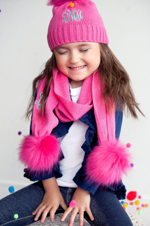 Bella Kids Pom Pom Hat   Scarf SET Monogrammed  522961e9da4a