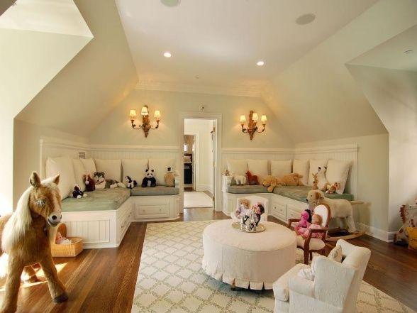 Attic playroom - 1,000,000 times better than a basement playroom!