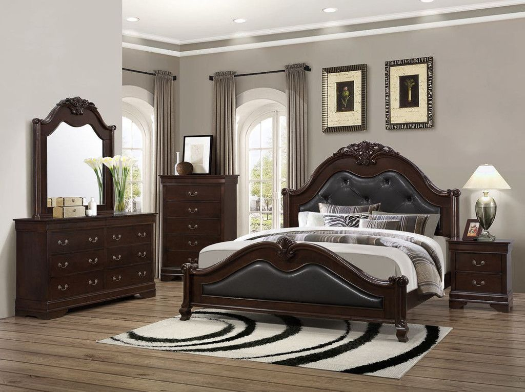 Good Lifestyle Queen Size Cherry Padded Mansion Bedroom Set | Queen .