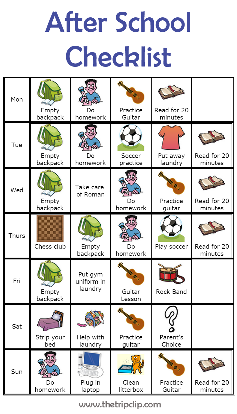 make your own after school checklist plus lots of other printable