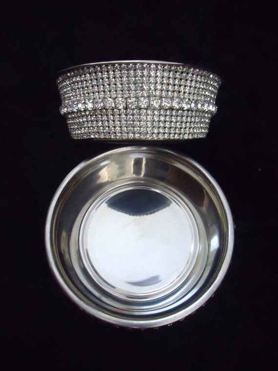 beautiful rhinestone crystal water food dog or cat bowl fancy