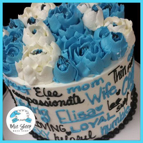 Blue, Black, and White Buttercream Floral Expressions Birthday Cake ...