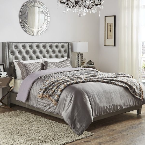 Aurora Faux Leather Crystal Tufted Nailhead Wingback Bed by ...