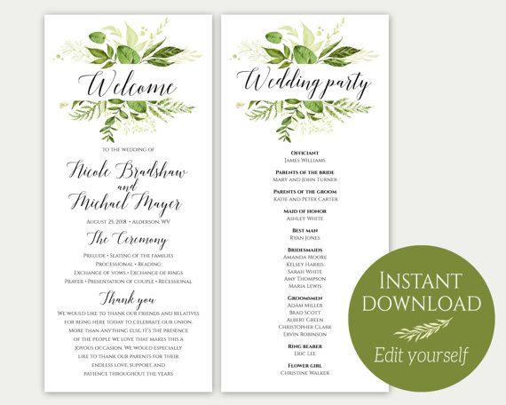 wedding program design templates