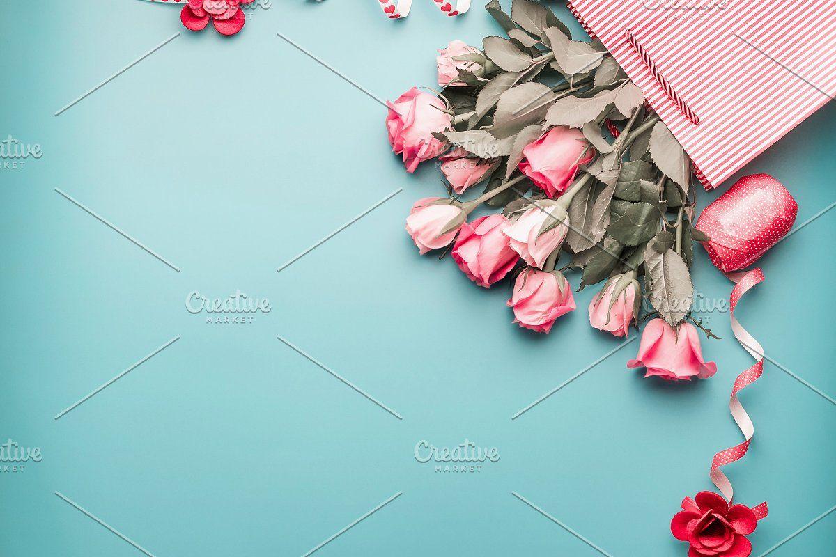 Photo of Roses bunch in shopping bag #Sponsored , #AFFILIATE, #bag#shopping#ribbon#blue