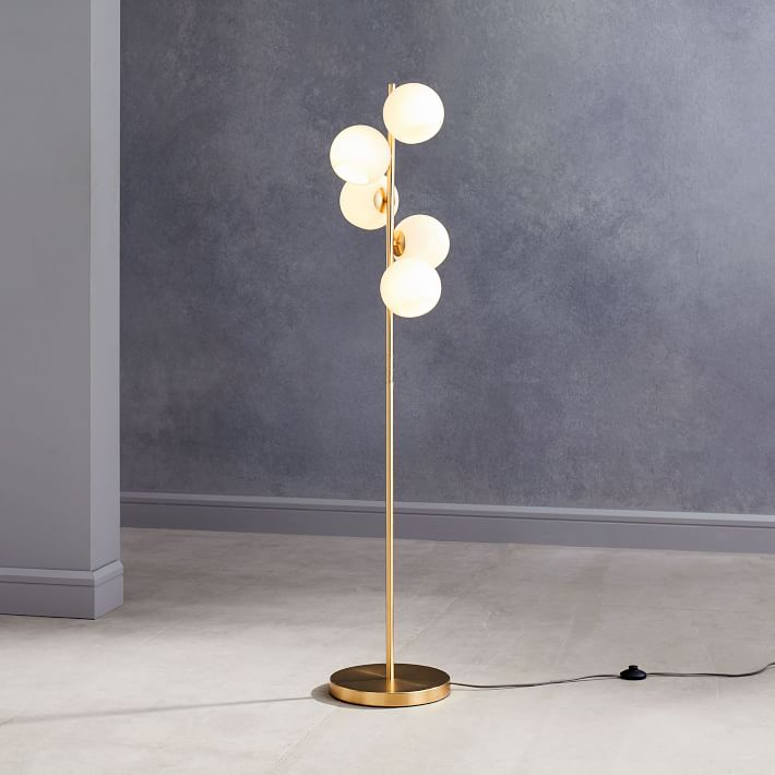 Staggered Glass 5 Light Floor Lamp In 2020 Glass Floor Lamp Glass Floor Modern Floor Lamps