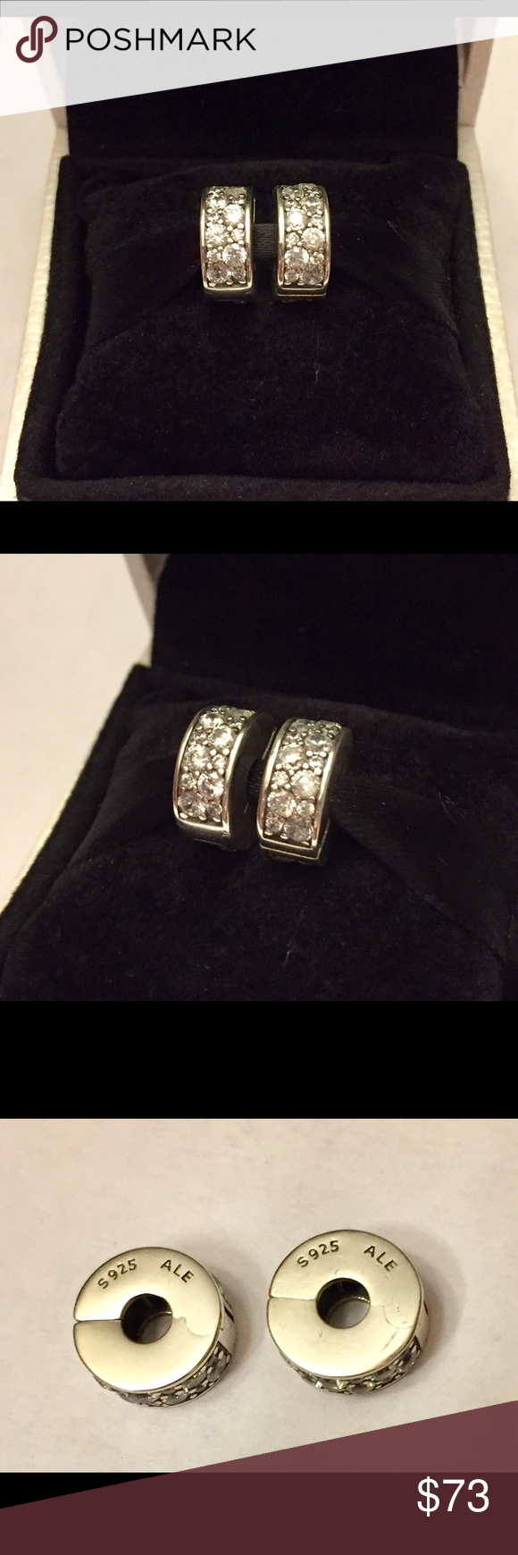 Authentic Pandora Clear Shining Elegance Clips Sterling Silver with Rows of Cz's. Hallmark Stamp S 925 ALE. The Pandora Hinged Box is included. No Trading. Thank you. Pandora Jewelry