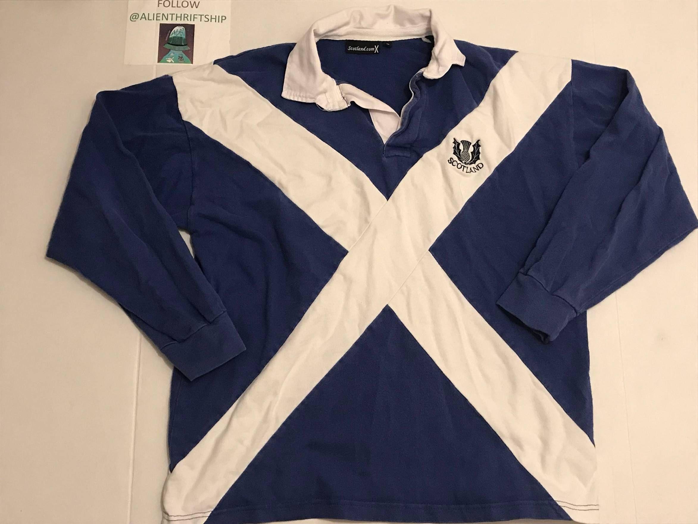 Jersey Vintage Vintage Scotland Flag Rugby Jersey Long Sleeve Polo Size M 27 Long Sleeve Polo Vintage Jacket Rugby Jersey