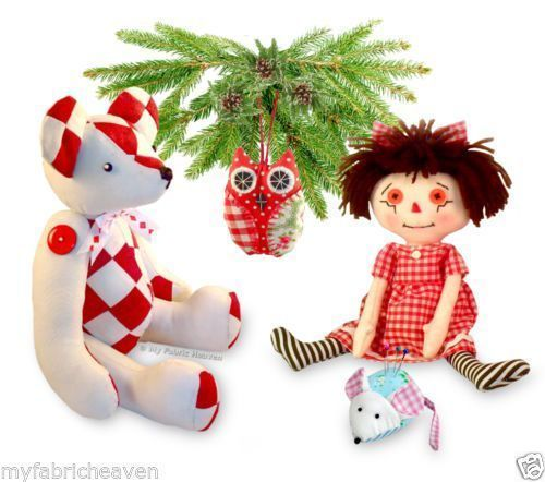 4 X Soft Toy Sewing PATTERNS Teddy Bear/ Rag Doll/ Mouse Pin C/ OWL ...