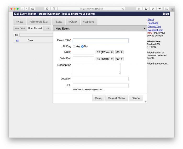 KalenderEinträge zum Weitergeben Webseite erstellt .ics