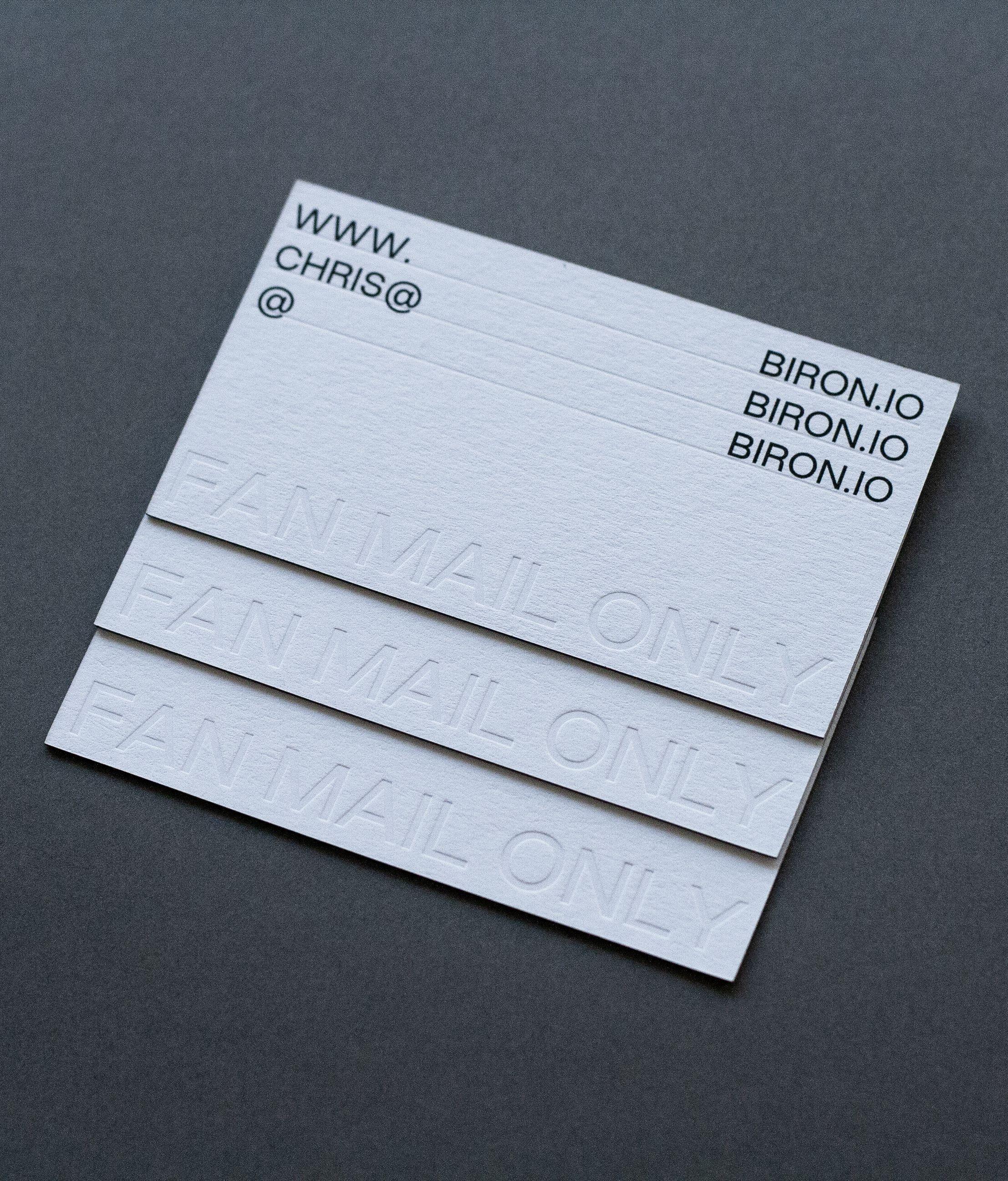 Business Cards Blind Debossing Black Screen Printing Printed By