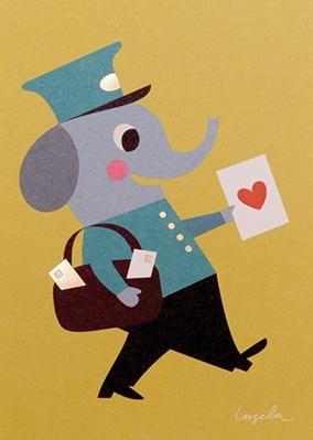 Postkarte Lagom Briefträger-Elefant - Papeterie bei Bertine http://www.bertine.de/lagom-postkarte-brieftraeger-elefant
