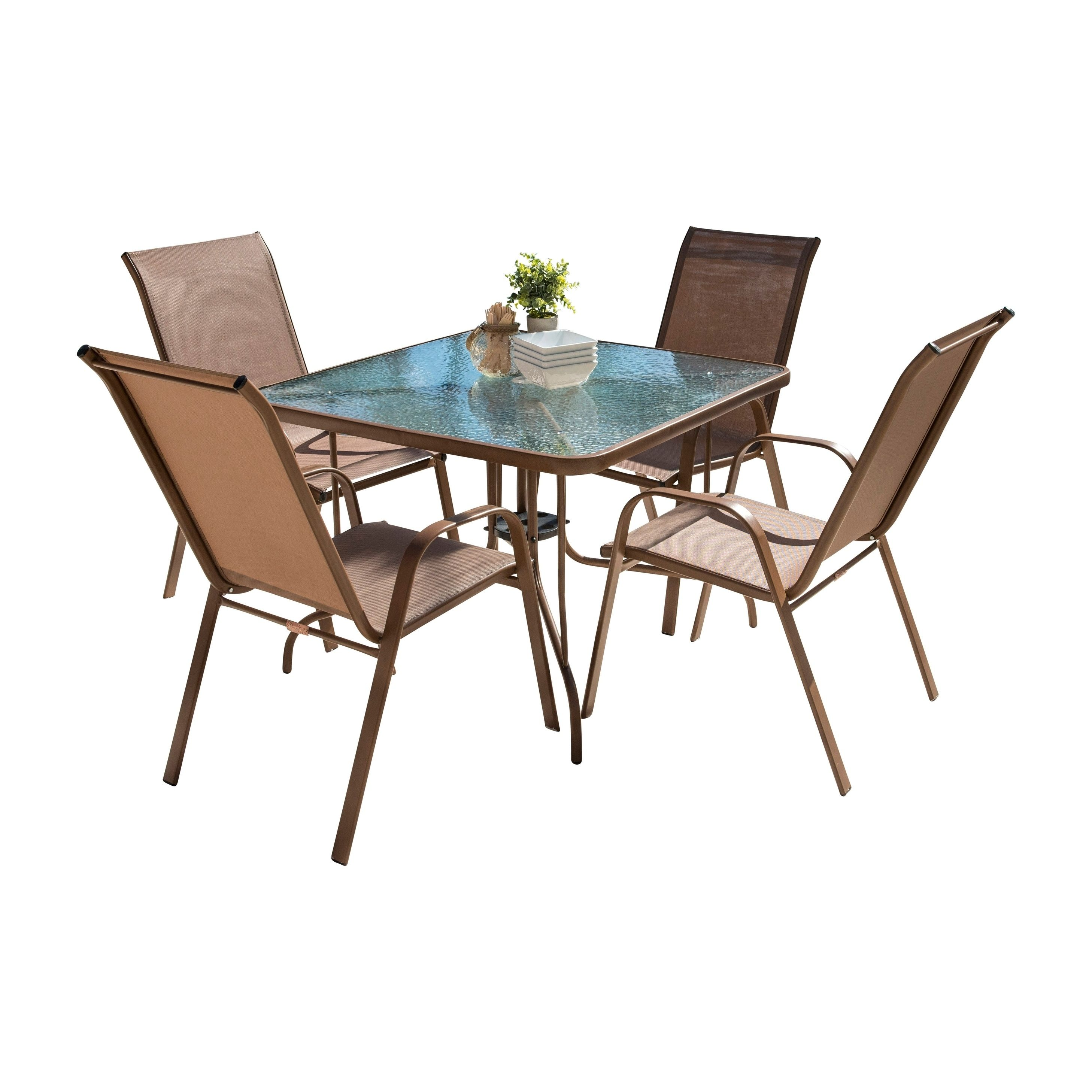 Panama Jack Cafe 5 PC High Back Sling Dining Set, Brown, Patio Furniture (