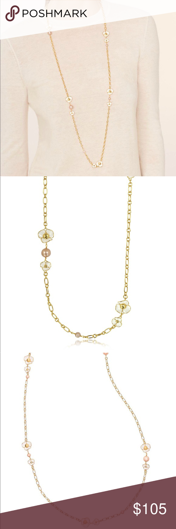 """e18d7585b933 Tory Burch ivory fleur rosary necklace Tory Burch Fleur Rosary necklace  approximate measurement total length 41"""" and half length 20.5. Tory Burch  Jewelry ..."""