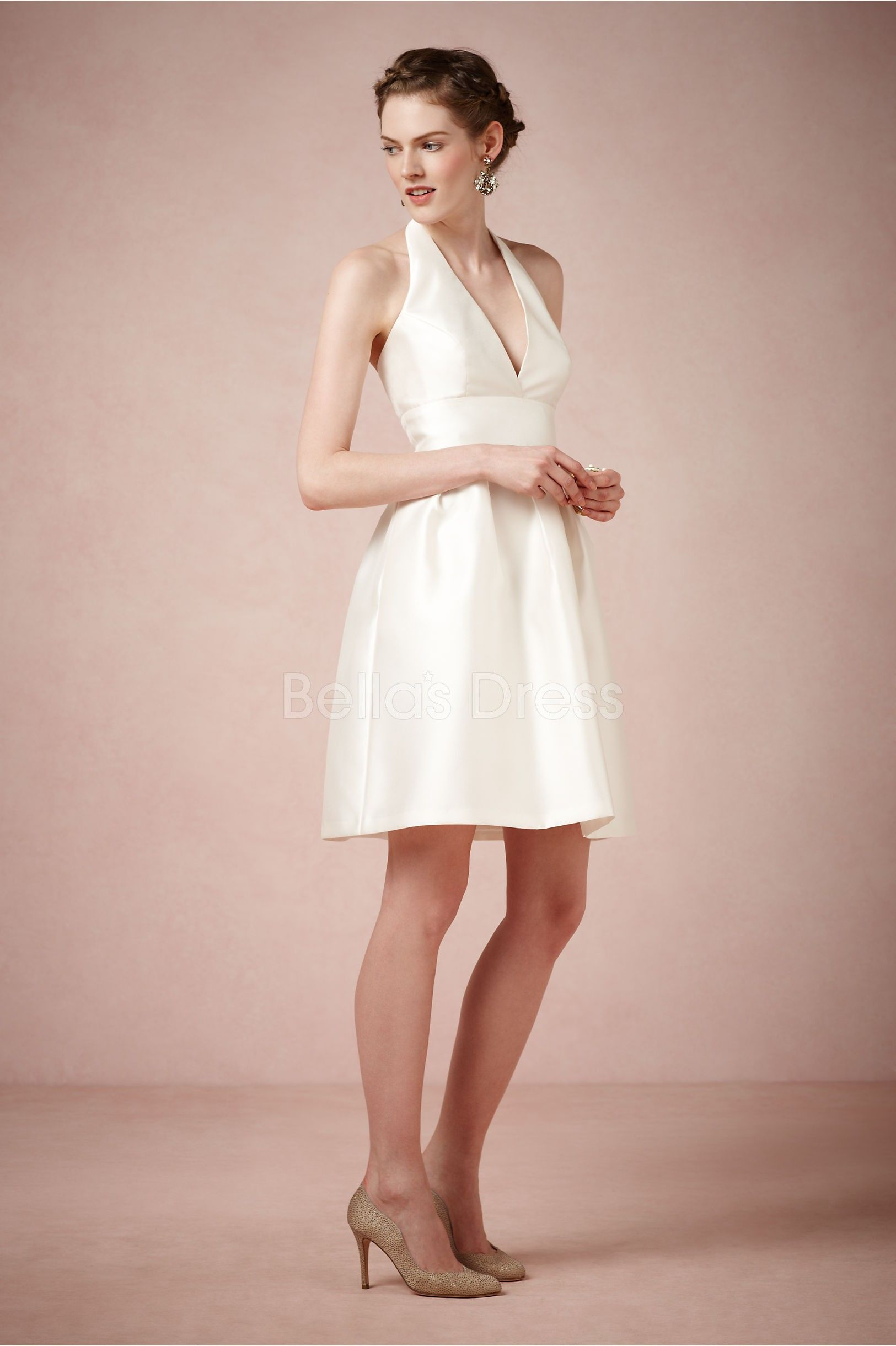 Satin Halter A Line Short Simple Wedding Dress