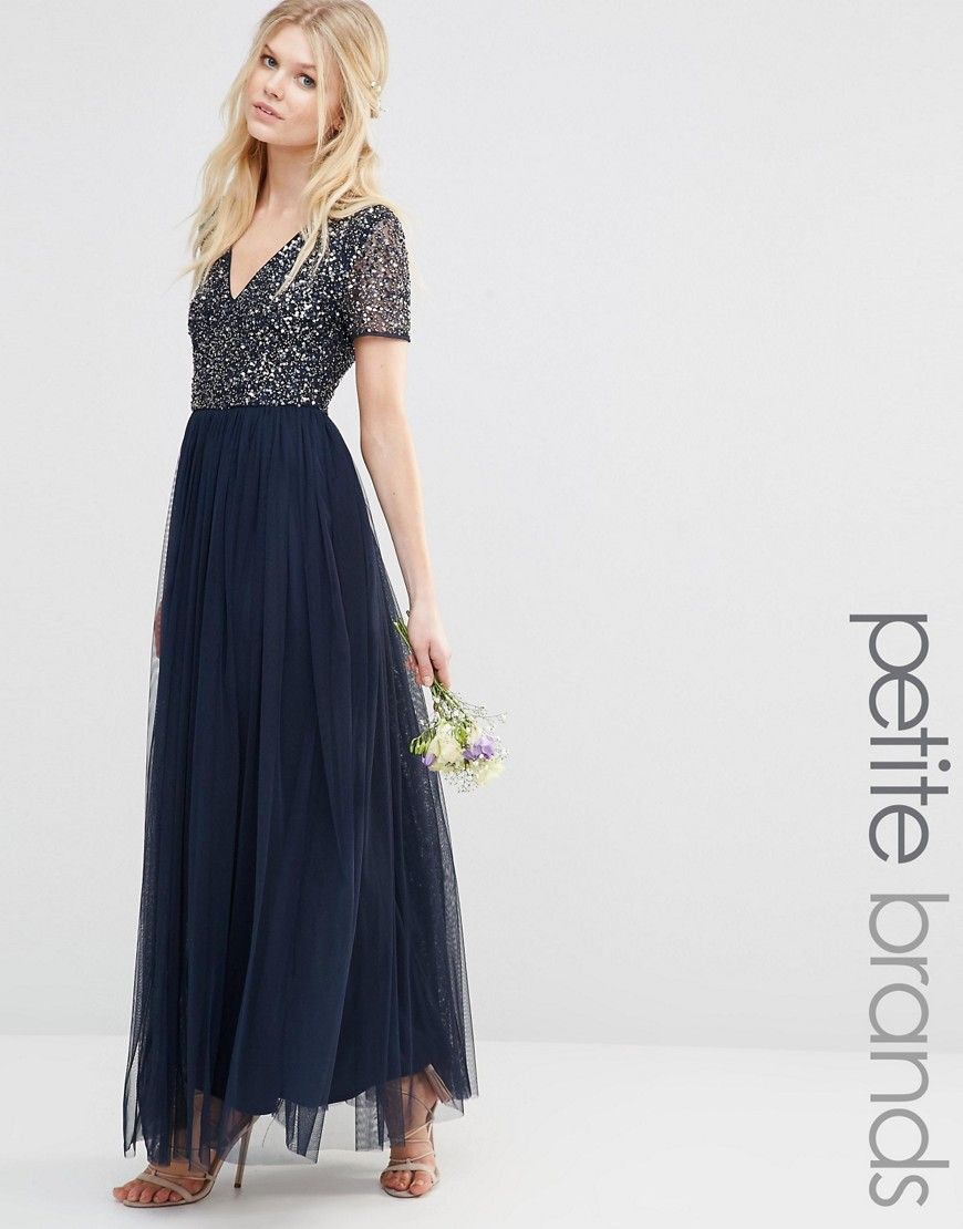 Maya Petite V Neck Maxi Tulle Dress With Tonal Delicate Sequins ...