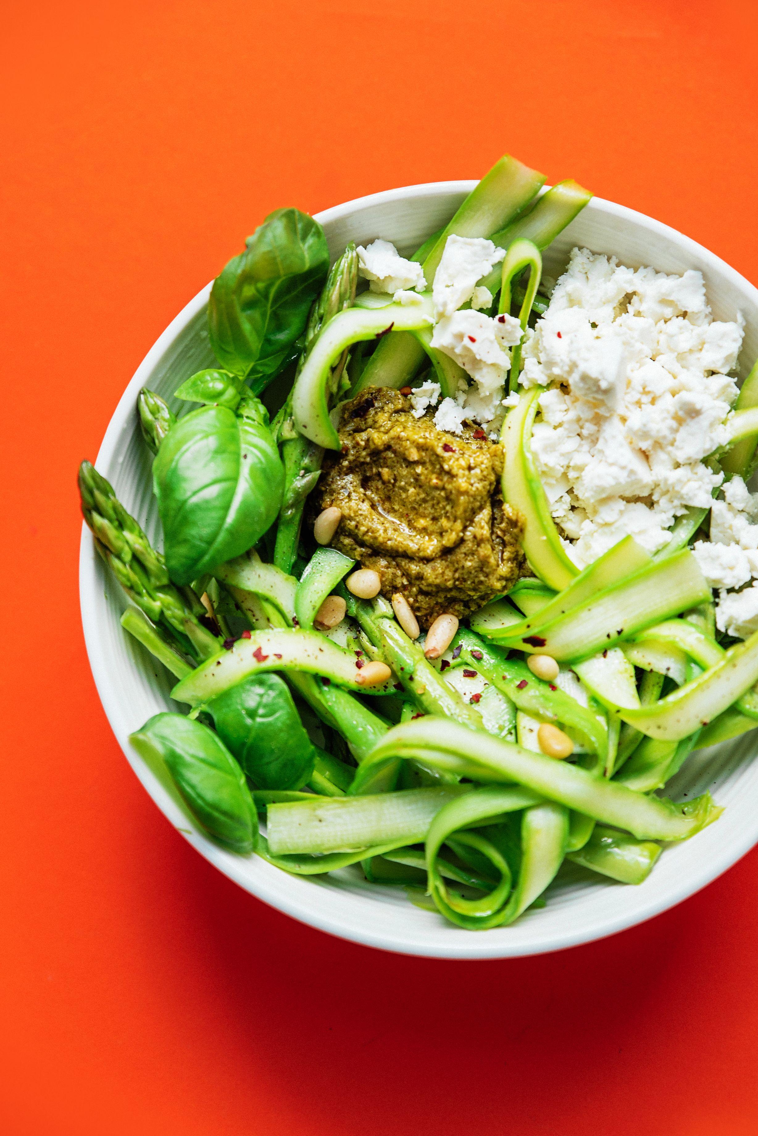 Asparagus Noodles With Pesto