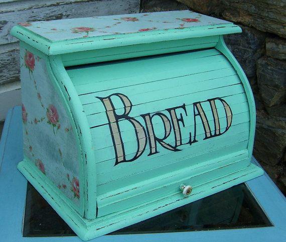 Vintage Roll Up Aqua ROSE Shabby Chic Distressed Bread Box ...