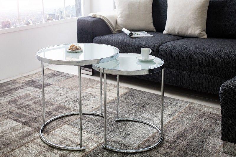 Beistelltisch Glas Metall Chrom Weiss 2er Tischset Glastisch