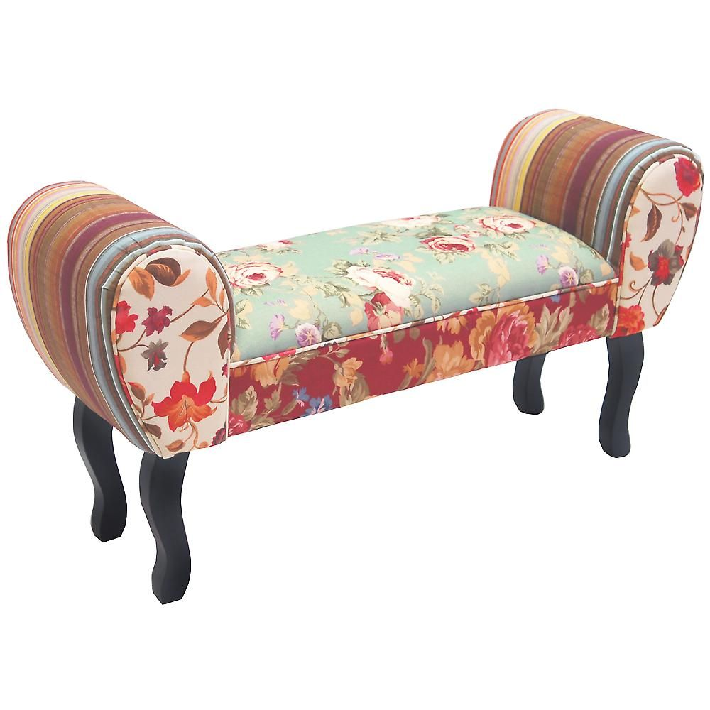 Roses Shabby Chic Chaise Pouffe Stool Wood Legs Multi Coloured Chairs Upholstered Bench Bedroom Shabby Chic Furniture Diy Upholstered Bench
