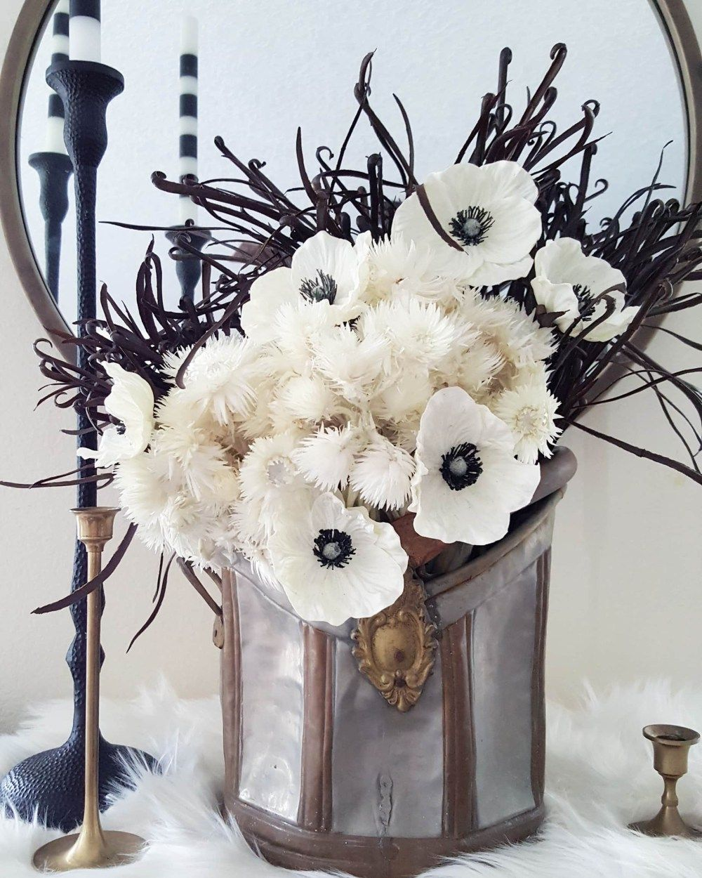 Using faux flowers in your fall and winter decor faux flowers faux flowers fall winter decor ideas black and white scan design arrangement mightylinksfo