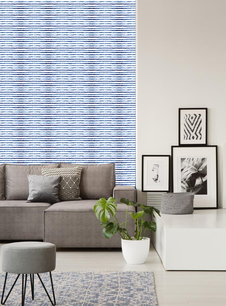 Horizontal Wallpaper Stripes Lg Navy Blue By Misstiina Etsy Wallpaper Self Adhesive Wallpaper Custom Print