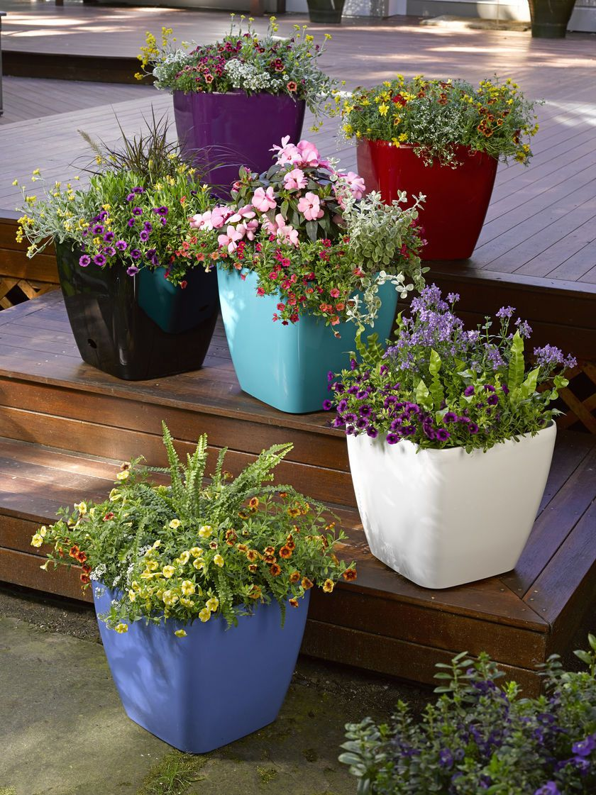 Colorful Rolling Patio Planter   MyPotsandPlanters.com