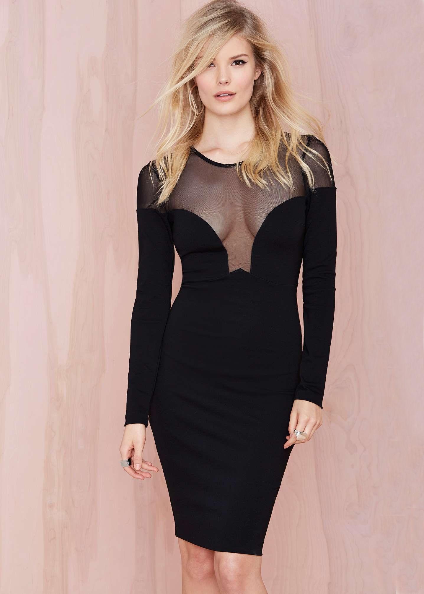 Shop black long sleeve contrast mesh yoke sheath dress online