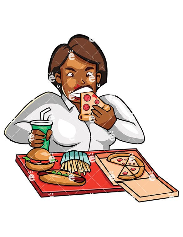 A Seated Overweight Black Woman Stuffing Pizza In Her