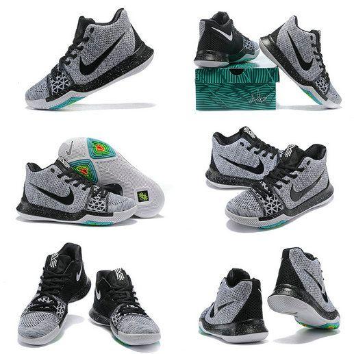 new style ecb7e 4aabb Nike Really Cheap Kyrie 3 III Flyknit Black Ice Black Cool Grey Wolf Grey  Oreo