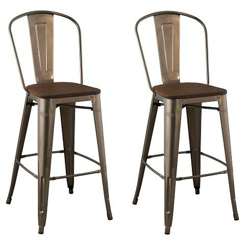 29 Quot Carlisle Barstool With Wood Seat Silver Set Of 2