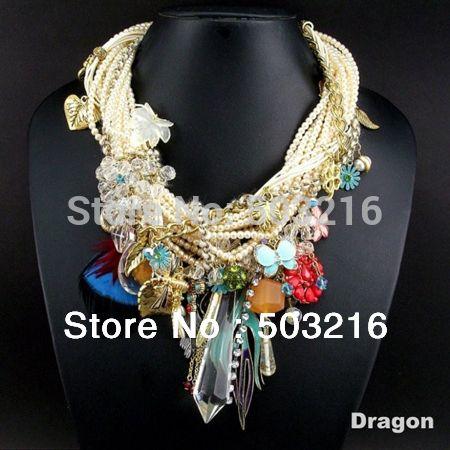 Высокое качество прозрачного хрусталя горный хрусталь классический дизайн мода кулон жемчужное ожерелье год сбора винограда для женщин ну вечеринку подароккупить в магазине Dragon Jewelry Co.,LtdнаAliExpress