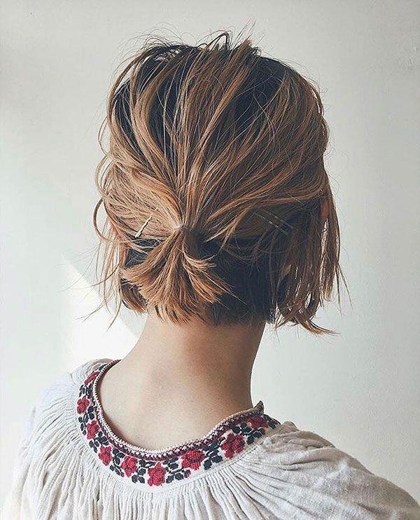 25 Elegant Short Hair Bun Ideas Bun Elegant Hair Ideas Short Shorthair Short Hair Bun Short Hair Styles Easy Short Ponytail