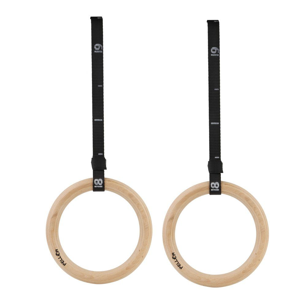 Gym Workout Training Strength with Straps Wooden Gymnastic Rings Fitness