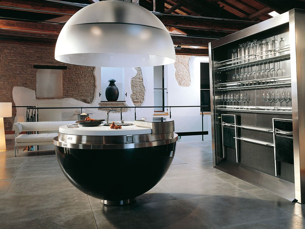 Current Trends In Kitchen Design Minimalist stainless steel and black glass are trending in kitchen design