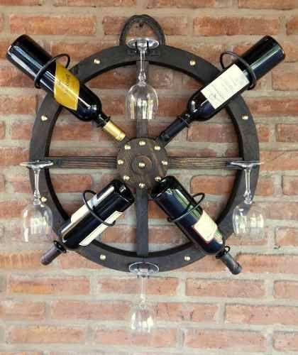 Bodega rueda de carreta de madera 4 botellas diy shelves - Decoracion de bodegas ...