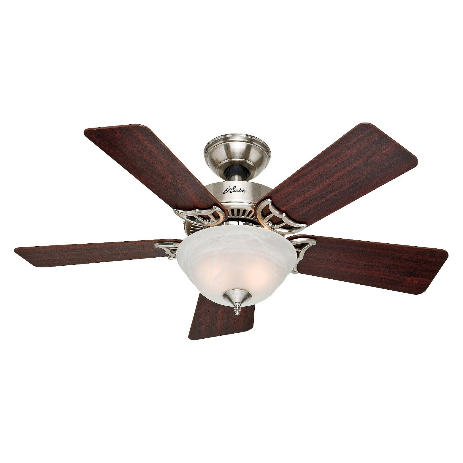 "A traditional design and Brushed Nickel finish make this 42"" fan an"