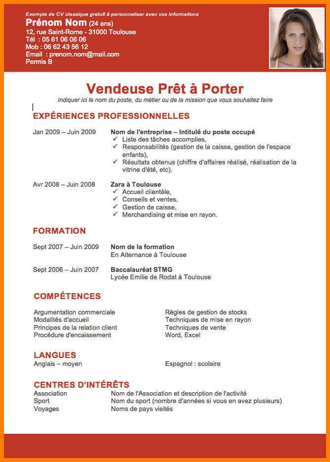 5  exemple de cv vendeuse