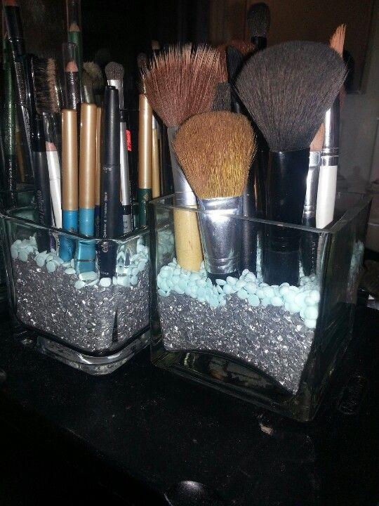Diy Makeup Brush Holder Dollar Store Glass Containers Metallic