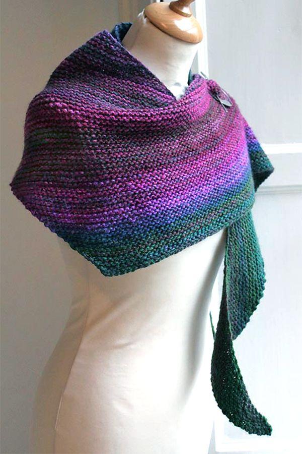 Free Knitting Pattern For Easy Boom Shawl Very Simple Asymmetric