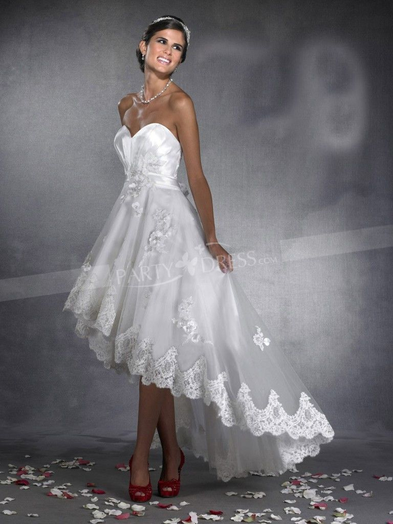 New Arrival Sweetheart Appliques Front Short Long Back Wedding