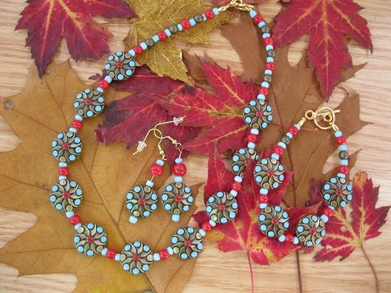 Gold Red Turquoise Necklace, Bracelet and Earring set