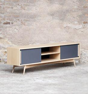 meuble tv hifi made in france vintage sur mesure chene clair - Meuble Tv Made In Design