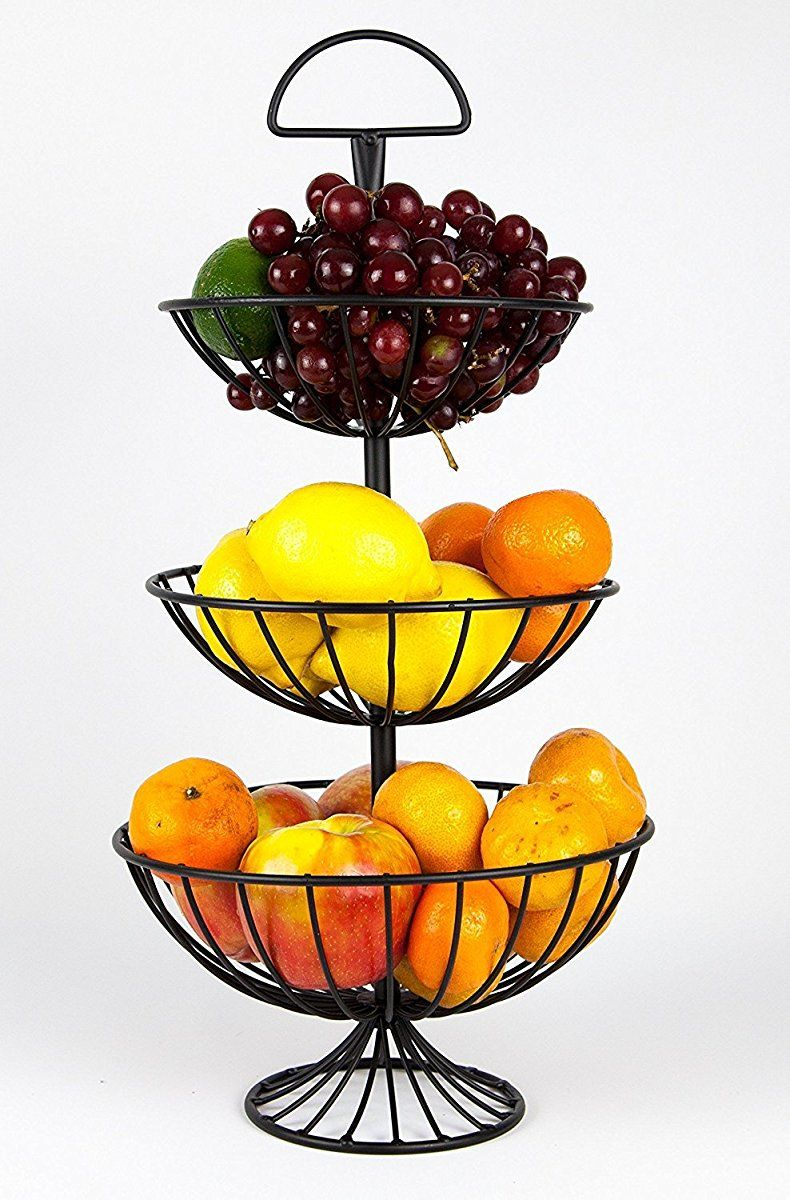 3 Tier Decorative Wire Fruit Basket Countertop Stand