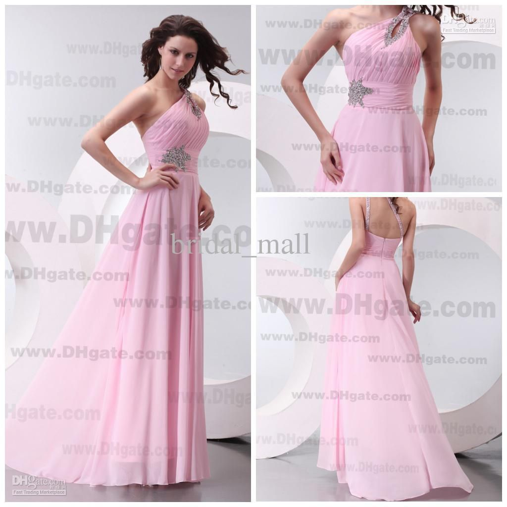 2015 cheap beaded one shoulder natural waist pink bridesmaid 2015 cheap beaded one shoulder natural waist pink bridesmaid dresses formal dress evening custom made bm780 ombrellifo Images